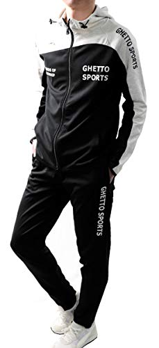 Freestyleジャージ上下メンズセットアップランニングウェアパーカー2717ブラック×杢ホワイトL