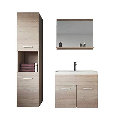 Badezimmer Badmöbel Set Montreal 60 cm Waschbecken Sonoma Eiche - Unterschrank Hochschrank Waschtisch Möbel