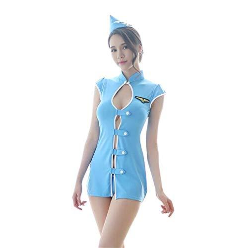 Bhwin Women Sexy Secretary Uniform Cosplay Airline Stewardess Uniform Sexy Lingerie Costumes (Blue)