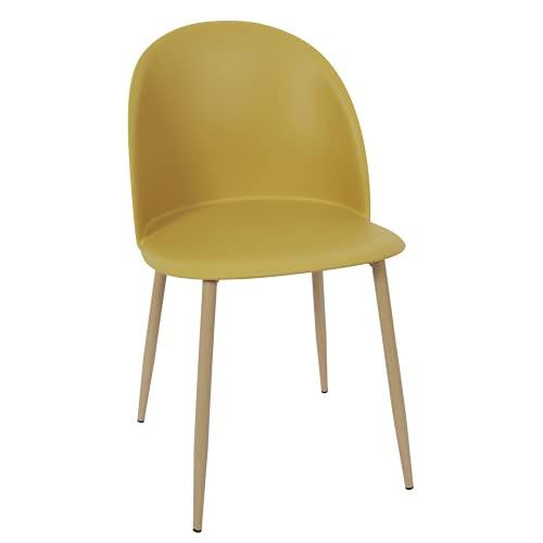 HOME DECO FACTORY HD7287 Bergen-Juego de 2 sillas de Comedor escandinavas, Color, Metal, Amarillo Mostaza – Madera, 49x81x47cm
