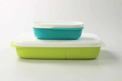 Tupperware Lunchbox Clevere Pause 590ml Limette + 120ml helltürkis Brot Bentobox