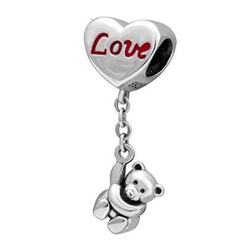 Teddybear - Abalorio de plata de ley 925 con diseño de corazón para Pandora y pulseras y collares similares