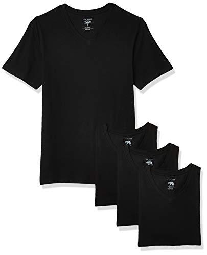 Ted Baker mens V-neck Stretch Cotton Tshirts, 3 Pack Base Layer Top, Black/Black/Black, Large US