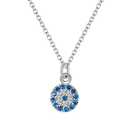 GYUFU Collar de Regalo para Mujer S925 Collar de Ojo de Diablo de Diamante Azul de Plata Esterlina, Colgante de Ojo Azul Retro Turco para Mujer Joyería de Plata de Todo Fósforooro, Plata 925