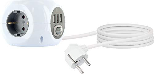 SCHWAIGER -661507- Steckdosenwürfel 3-fach Schuko 3x USB-Anschluss Steckdosenleiste Mehrfachsteckdose Ein-Ausschalter 1,4 m Kabel Würfelsteckdose