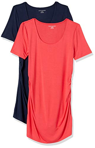 Amazon Essentials Maternity 2-Pack Short-Sleeve Rouched Scoopneck T-Shirt Fashion Shirts, Ibisco/Blu Marino, S