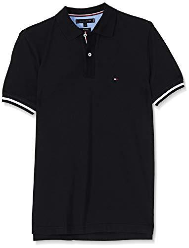 Tommy Hilfiger Herren Basic Tipped Regular Polo Poloshirt, Schwarz(Jet BLACK083), Medium (Herstellergröße:M)