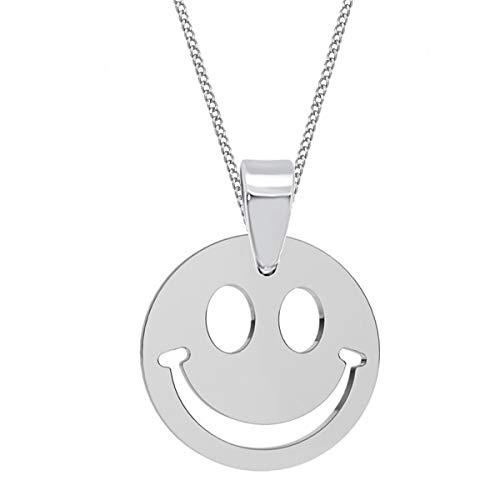 Smiley Anhänger mit Kette 925 Echt Silber Mädchen Damen Kinder Halskette (1) Silber, 50)