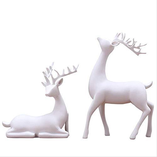 LISAQ Estatuas de Resina estatuilla de Ciervo Estatua decoración del hogar artesanía Escultura Regalos creativos Adorno de Escritorio Moderno