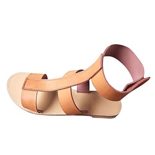 BIBOKAOKE Damen Sommer Casual Sandalen Leder Flache Sandale Freizeit Bequeme Hallenschuhe Outdoor Peep Toe rutschfest Sandalette Knöchel Slide Sandal Walking Schuhe