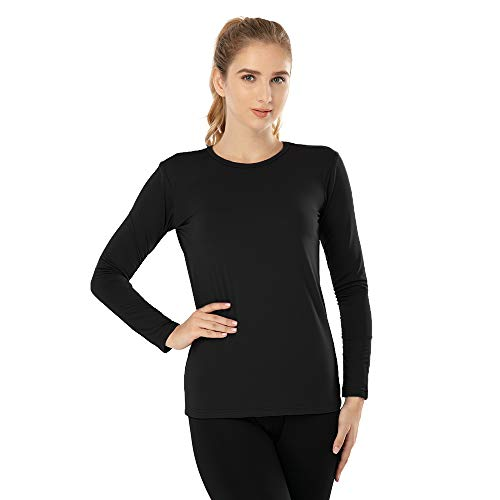MANCYFIT Womens Thermal Tops Fleece Lined Shirt Long Sleeve Base Layer Black Small