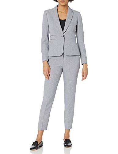 Tahari ASL Women's Double Welt Pocket Jacket and Pant Set, Navy White Dash Stripe, 10