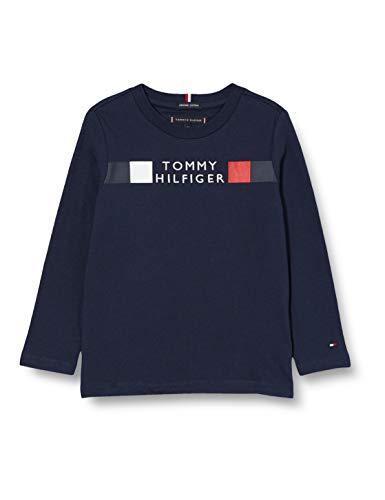 Tommy Hilfiger MSW Global Stripe tee L/s Camisa, Twilight Navy, 14 para Niños