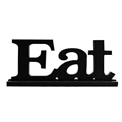 YK Decor Wood Tabletop Eat Letter Sign Cutout Wooden EAT Letters Freestanding Wooden Letter Decorative Sign
