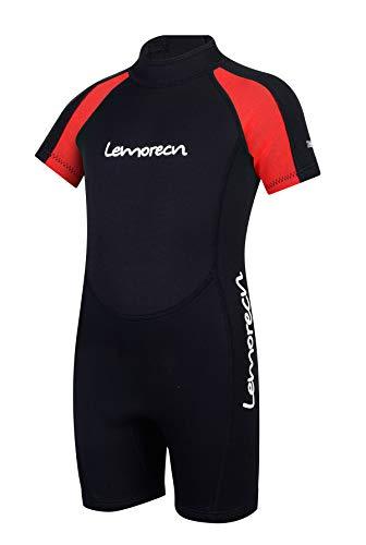 Lemorecn Kids Wetsuits Youth Premium Neoprene 2mm Youth's Shorty Swim Suits (4021red12)