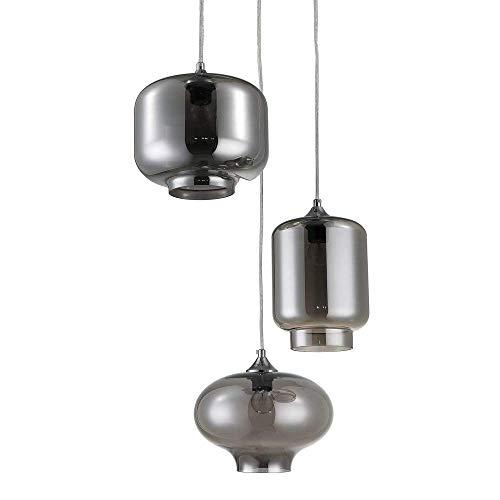 Wink Design Smoked Mirror Lampadario, 3 Luci E27, 40 W, Grigio, vetro