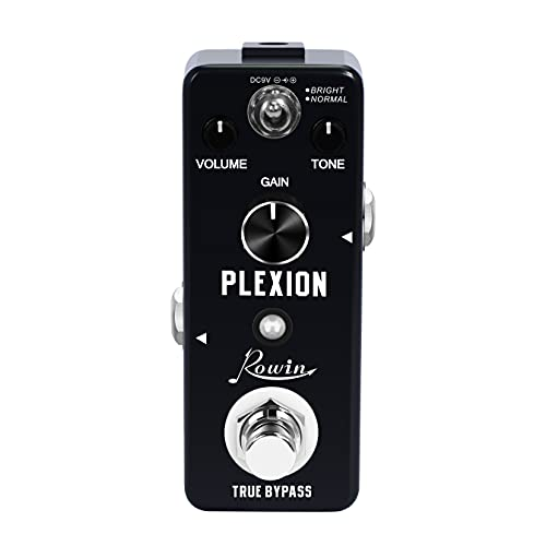 Rowin Plexion Distortion Pedal for Guitar & Bass with Bright and Normal Mode True Bypass