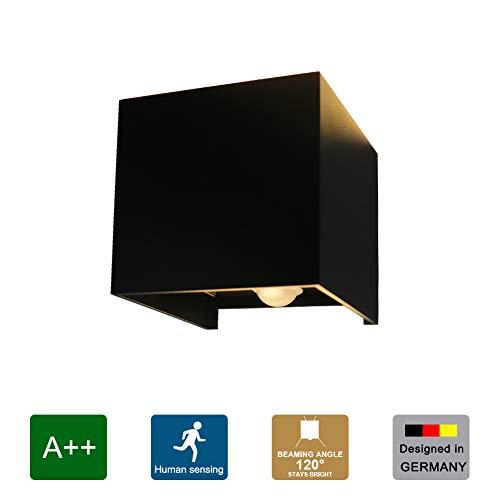 Klighten LED wandlamp waterdichte wandlamp met bewegingssensor IP65 LED wandverlichting wandverlichting binnen en buiten warm wit (zwart 7W)