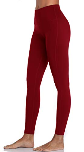 Oalka Damen Leggings Power Flex Yoga Pants trainieren Lauf XX-Large Dunkelrot
