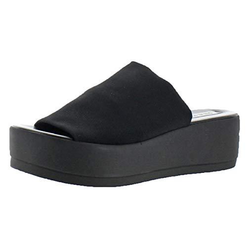 Steve Madden Women's Slinky30 Wedge Sandal, Black, 7