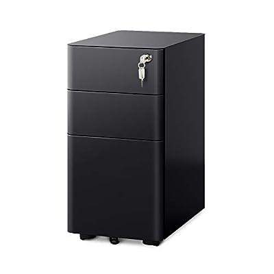 DEVAISE 3-Drawer Slim Locking File Cabinet, Fully Assembled Except Caster.Legal/Letter Size