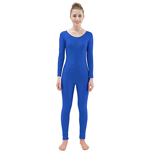 Scoop Neck Long Sleeve Unitard Dance Costume Jumpsuit BLUE Adult Small /& Medium