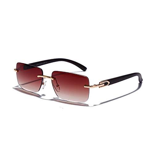 Punk randlose rechteckige Sonnenbrille für Herren und Damen, Vintage-Sonnenbrille, UV400, Sonnenbrille, rahmenlos, Farbverlauf, modische Brille 5