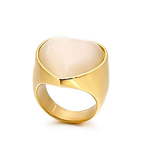 PJHGS Anillo de Compromiso para Mujer/Hombre, Acero Inoxidable, corazón, circonita, Piedra, Pareja, Anillo, Anillo de los Amantes del corazón