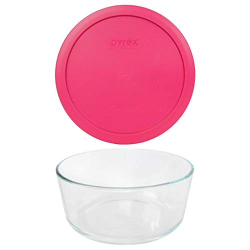 Pyrex (1) 7203 7 Cup Glass Dish & (1) 7402-PC 6/7 Cup Round Fuchsia Pink lid