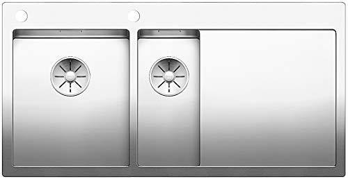Blanco Claron 6 S-IF, Küchenspüle, Hauptbecken links, für normalen und flächenbündigen Einbau, InFino-Auslauf, Edelstahl Seidenglanz; 521646