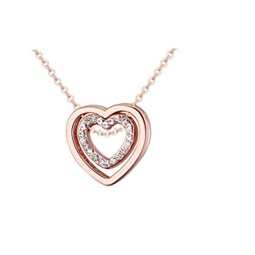 NaisiCore Cristal Doble corazón Colgante Collar Usted está Siempre en mi corazón del corazón del Doble Hueco-hacia Fuera el Collar de la Mujer (Rosa de Oro)