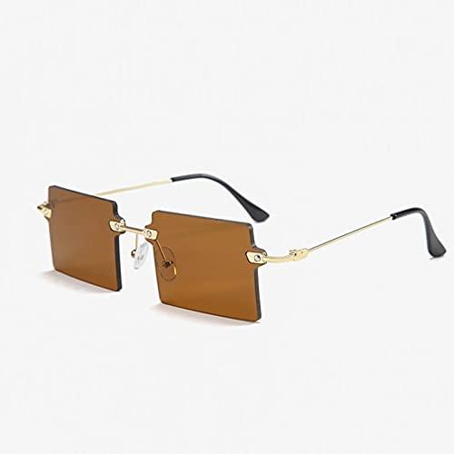 SXRAI Gafas de Sol cuadradas pequeñas para Mujer, Gafas de Sol sin Montura, para Mujeres, Hombres, Gafas de conducción,C3