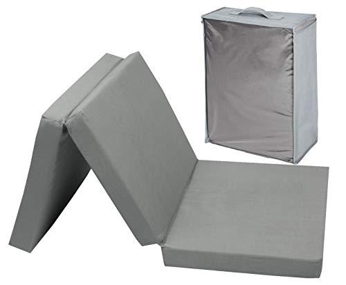 ZOLLNER Kinder Gästematratze, faltbar, PU-Schaumkern, 60x120 cm, 6 cm Höhe, grau