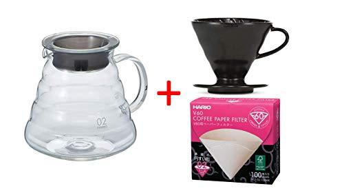 HARIO Kaffee Set Kaffekanne mit passendem Kaffefilter schwarz V60, Größe 2 und Filterpapier XGS-60TB + VDC-02-MB-BB + VCF-02-100W