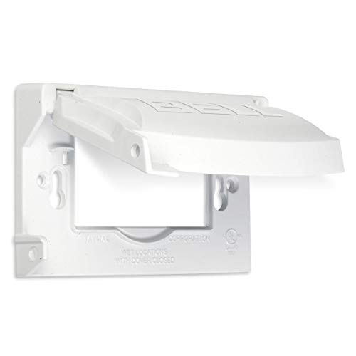 Hubbell Outdoor Lighting MX1250W Weatherproof Single Outlet Cover Outdoor Receptacle Protector, Horizontal Flat, White