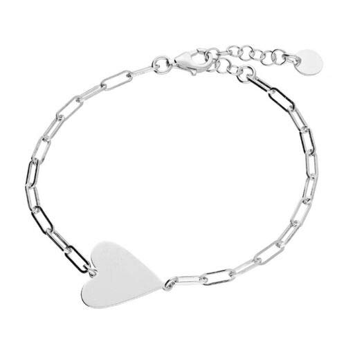 Pulsera de plata de ley 925 con forma de corazón