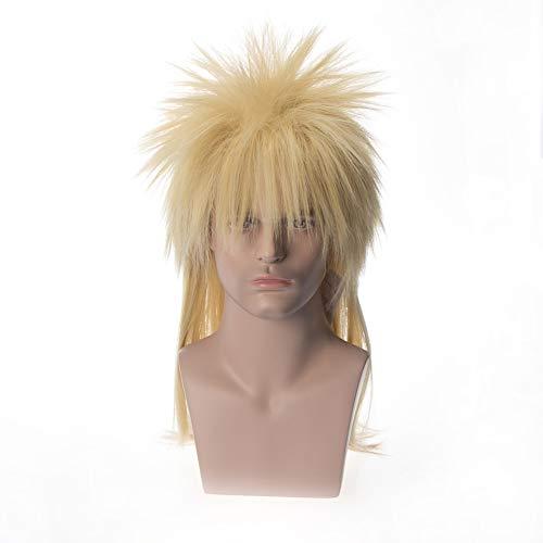 XIAOWEIBA Parrucca per Uomo E Donna Halloween 80S Punk Wave Pop Star Triglie di Spighe Nere E Grigie Rigate