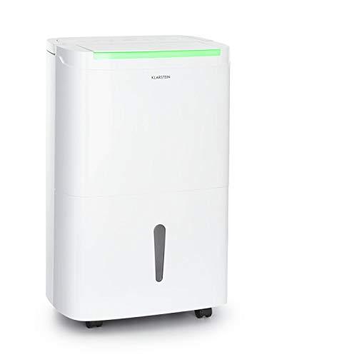 KLARSTEIN DryFy Connect - Deshumidificador de Aire, Humedad deseada Regulable, Función oscilación, WiFi, Filtro de carbón Activo, 360 m³/h, 45-55 m², Depósito Agua 7 L, Rendimiento 50 L/día, Blanco