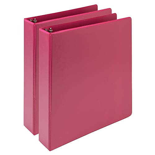 Samsill Earth's Choice, Durable Fashion Color 3 Ring View Binder, 1.5 Inch Round Ring, Up to 25% Plant Based Plastic, Eco-Friendly, USDA Certified Biobased, Pink Berry, Value 2 Pack (MP286576)