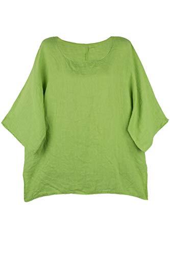Shirt Oberteil Halbarm Edel Damen Leinen Grün Made in Italy 38 40 42