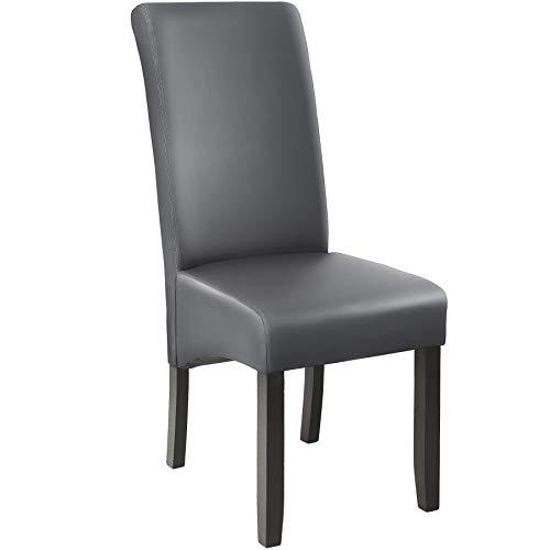 TecTake 403589 Edler Esszimmerstuhl aus Kunstleder | Stuhl mit hoher Rückenlehne | qualitativ hochwertig | Stuhlbeine aus Hartholz massiv | 106 cm hoch | grau