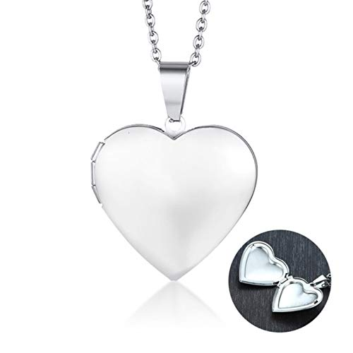 DOOLY Custom Locket Necklace Pendant Women Photo Picture Engraved Round Circle Stainless Steel Lady Mom Gifts