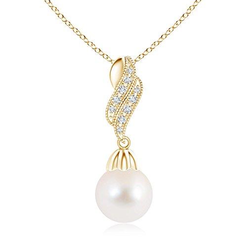 Vintage perla pendenti collana con diamante Flame e Oro giallo, cod. ANG-P-SP0973FWPRD-YG-AAA-10