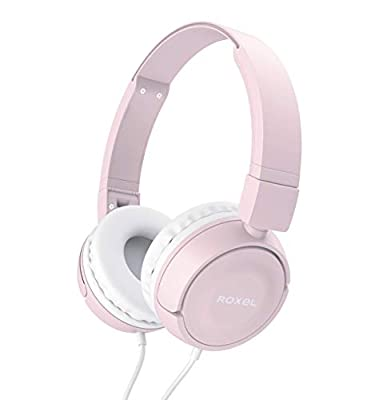 Roxel RX110 Powerful Bass Lightweight Wired Foldable Headphones with Mic, Ergonomic On Ear Headphone Compatible with Android and IOS Devices, Answer Incoming Calls (Pink) from Roxel