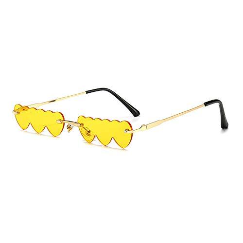 DLSM Rectángulo de Moda amorless Amor corazón Forma Mujer Gafas de Sol Claro Océano Lente Gafas Damas Gafas de Sol adecuadas para Practicar Senderismo y Pesca-Amarillo