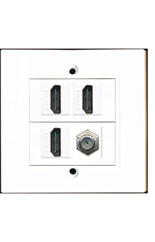 RiteAV 3 HDMI Coax Wall Plate White Decorative