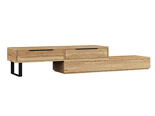 Woodkings® TV Bank Auckland variabel, Lowboard aus massiv Holz Natur, TV Möbel flexibel stellbar, Wohnwand variabel, Fernsehbank modern (Holz - Wildeiche, 2 Schub)