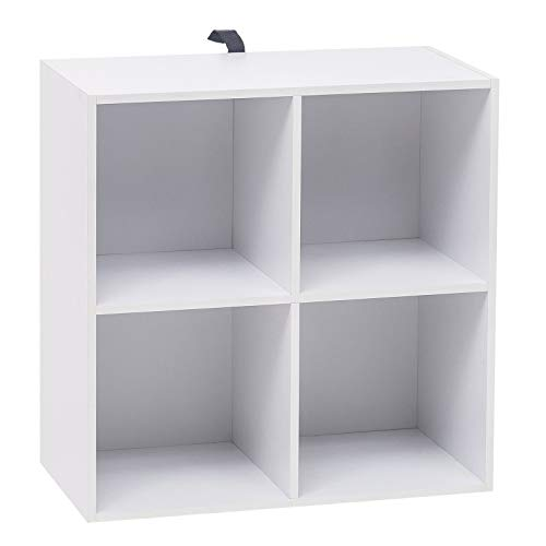 WOLTU Estantería para Libros Estantería de Exposición Estantería de Pared con MDF, Blanco, Estante para Oficina Gabinete para Archivos, 4 Compartimentos, 60x30x60cm SK002ws2