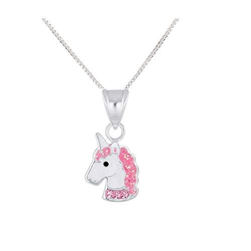 FIVE-D Kinder Anhänger mit Kette Einhorn Pferd Glitzer Kristalle 925 Sterling Silber (Pink)