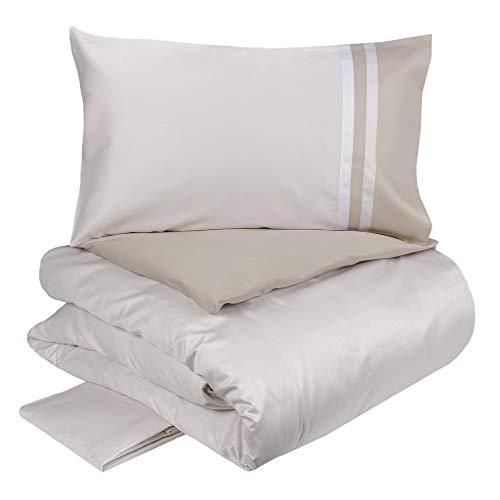 Fazzini Kubric 60 - Juego de funda nórdica reversible de 2 plazas, color blanco seda/torrón